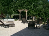 Dayton Ohio Backyard Paver Patio with fire pit and pergola